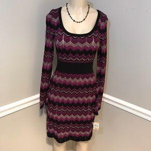 INC NWT Multi-Color Chevron Pattern Sweater Dress